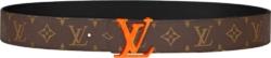 Louis Vuitton Orange Buckle Brown Monogram Belt