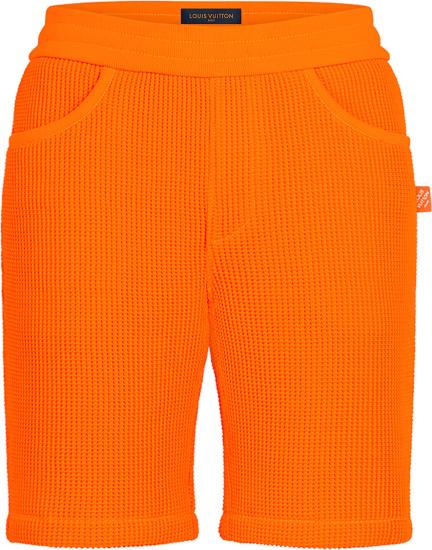 Louis Vuitton Orange Waffle And Damier Trim Shorts