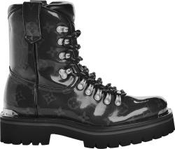 Louis Vuitton Patent Black Monogram Combat Boots