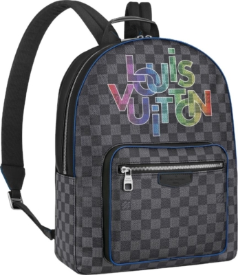 Louis Vuitton Rainbow Logo Print Grey Check Josh Backpack