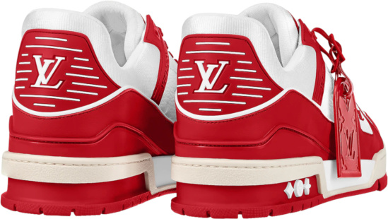 Louis Vuitton Red And White Low Top Trainer Sneakers