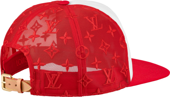 Louis Vuitton Red And White Monogram Everyday Lv Trucker Hat
