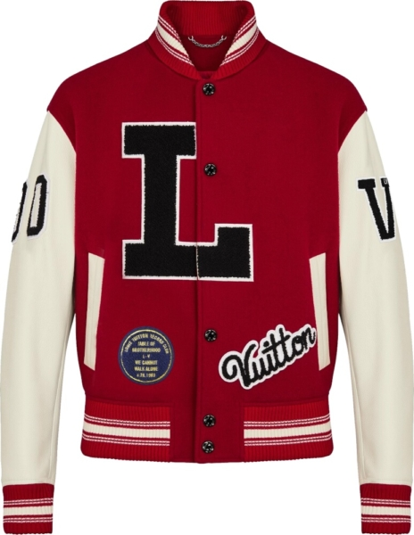 Louis Vuitton Red And White Varsity Jacket