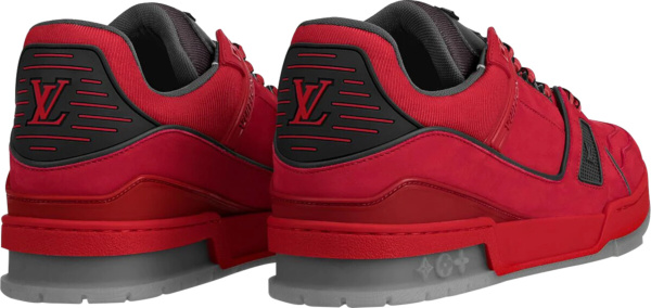 Louis Vuitton Red Grey Lv Trainer Sneakers