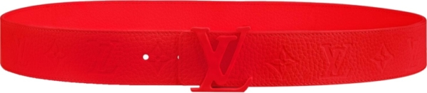 Louis Vuitton Red Lv Initiales And Red Leather Belt
