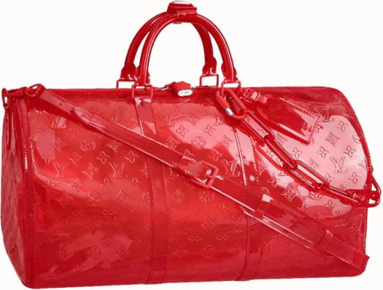 Louis Vuitton Red Transparent Monogram Duffle Bag