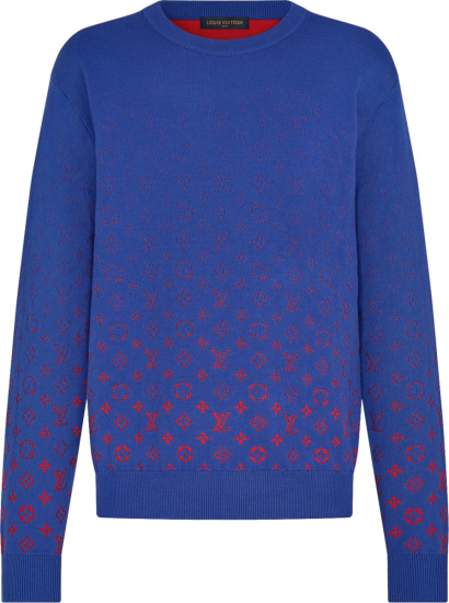 Louis Vuitton Royal Blue And Red Gradient Monogram Sweater