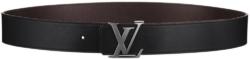 Louis Vuitton Ruthenium Finish Lv Initiales Black Leather Strap Belt