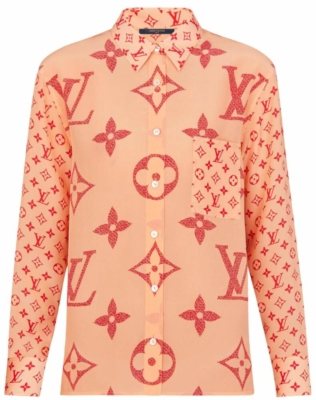 Louis Vuitton Salmon Shirt With Giant Lv Logo Print