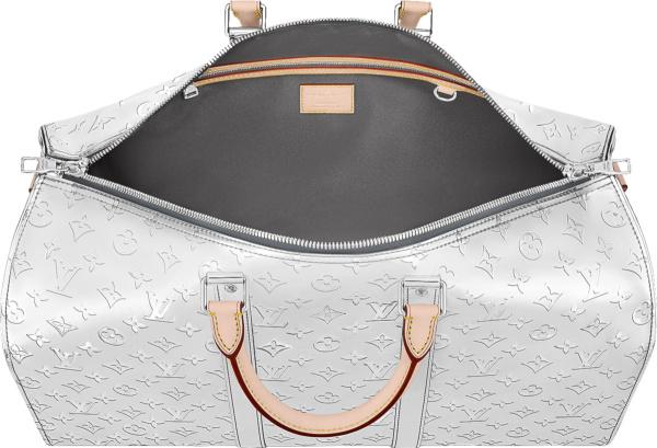 Louis Vuitton Silver Metallic Mirror Monogram Keepall 50 Duffle Bag