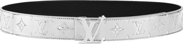 Louis Vuitton Silver Tone Metallic Mirror Mirror Lv Initiales Belt Mp303q