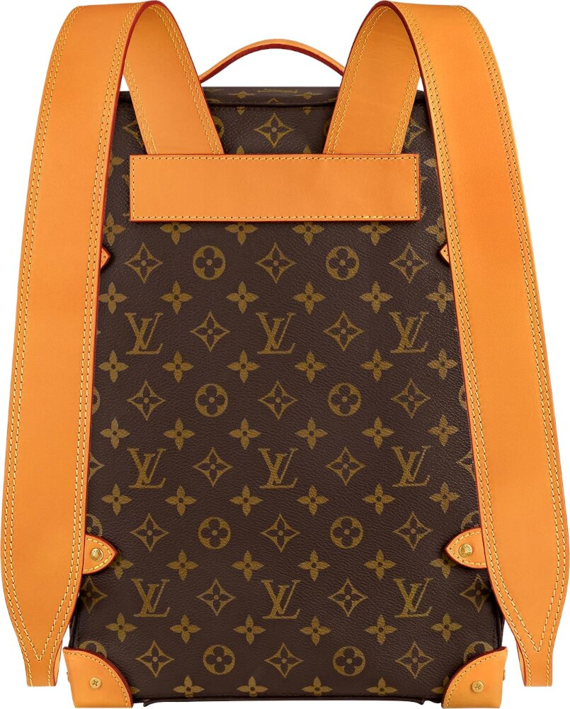Monogram Print Brown Trunk Backpack