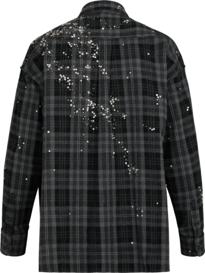 Louis Vuitton Splatter Black Grey Check Shirt