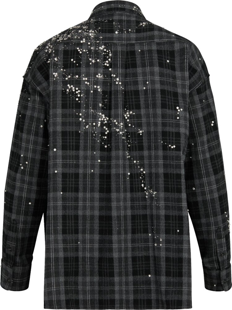Embellished Black Check Shirt
