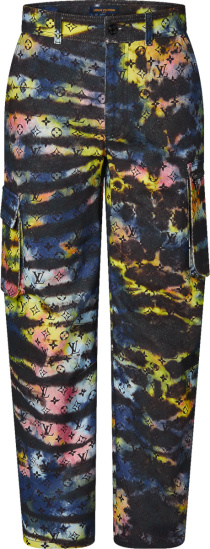 Louis Vuitton Tie Dye Monogram Print Cargo Jeans