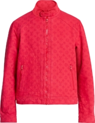 Red Monogram Embossed Denim Jacket