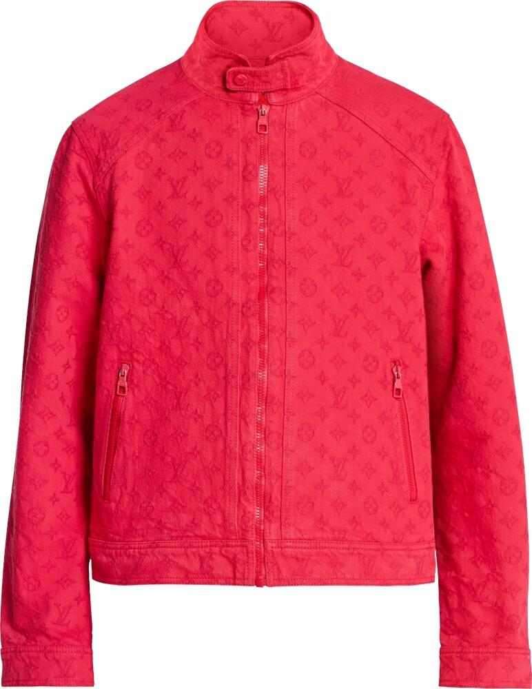Monogram Embossed Red Denim Jacket