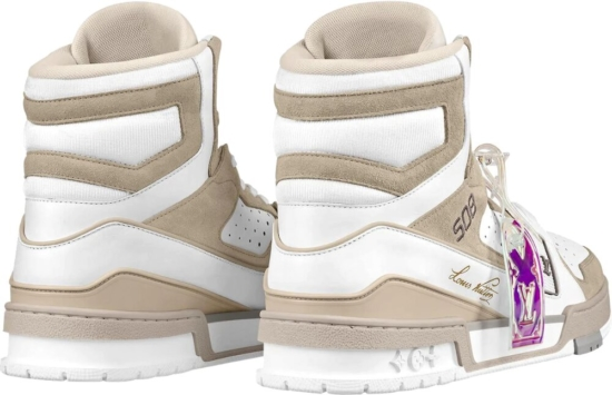 Louis Vuitton White And Beige High Top Sneakers
