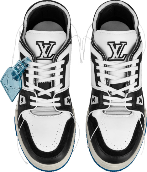 Louis Vuitton White And Black Leather And Blue Sole Low Top Trainer Sneakers