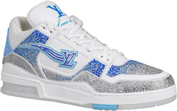 Louis Vuitton White And Blue Crystal Lv Trainer Sneakers