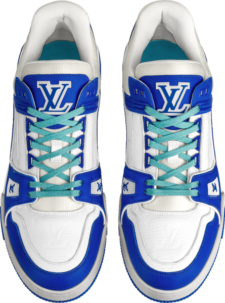 Louis Vuitton White And Blue Lv Trainer Sneakers