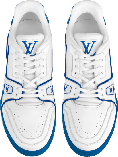 Louis Vuitton White And Blue Sole Lv Trainer Sneakers