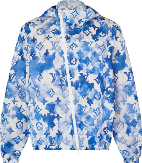 Louis Vuitton White And Blue Watercolor Monogram Print Hooded Windbreaker Jacket 1a8qzv