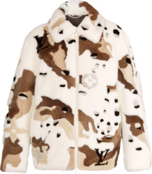 Louis Vuitton White And Brown Camo Monogram Mink Fur Jacket