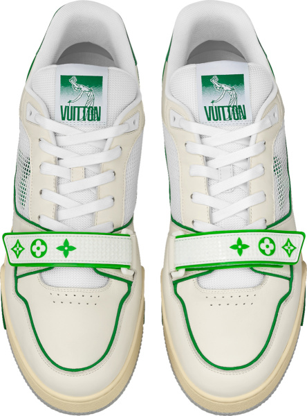 Louis Vuitton White And Green Strap Lv Trainer Sneakers