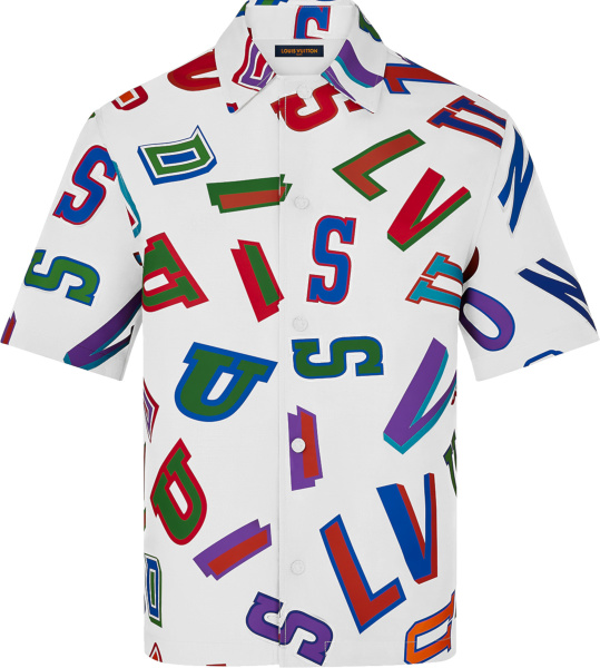 Louis Vuitton White And Multicolor Basketball Letters Shirt 1a8wr2