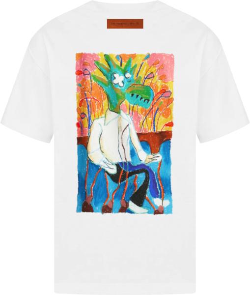 Louis Vuitton White And Multicolor Bird Print T Shirt