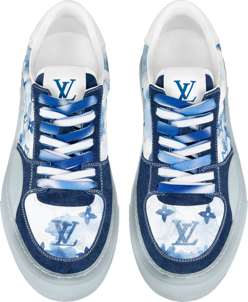 Louis Vuitton White And Navy Watercolor Monogram Print Low Top Ollie Sneakers