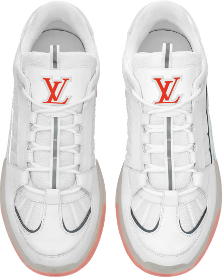 Louis Vuitton White And Orange Transparent A View Sneakers