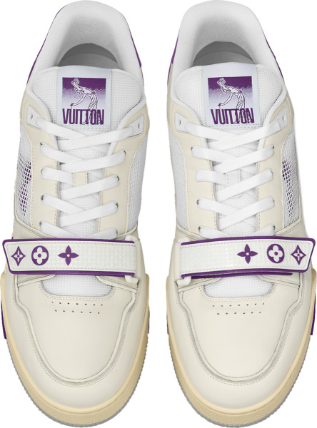 Louis Vuitton White And Purple Strap Lv Trainer Sneakers