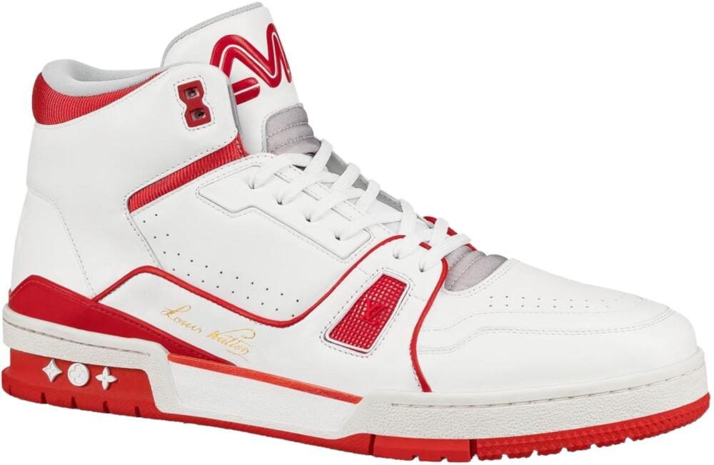 Louis Vuitton White And Red Mid Top Sneakers