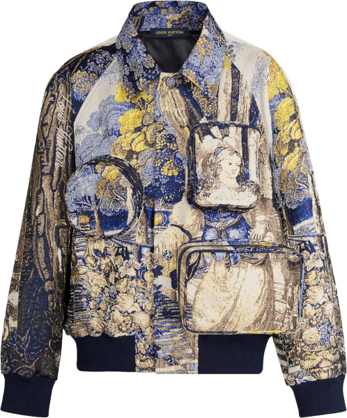 Louis Vuitton White Blue Gold Tapestery Jacquard Cargo Jacket 1a5xh2