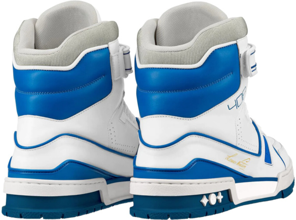 Louis Vuitton White Blue High Top Sneakers