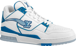 Louis Vuitton White Blue Initials Trainer Sneakers
