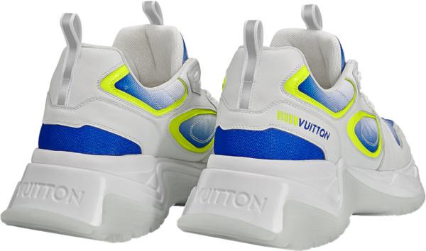 Louis Vuitton White Blue Neon Yellow Run Away Pulse Sneakers