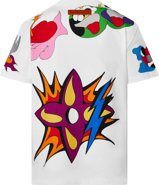Louis Vuitton White Burning House Print T Shirt