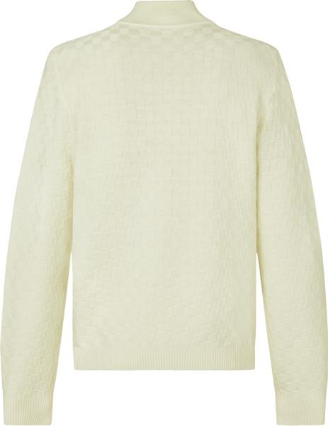 Louis Vuitton White Damier Zip Cardigan Sweater