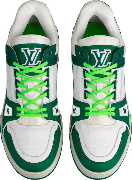 Louis Vuitton White Green And Neon Green Low Top Lv Trainer Sneakers