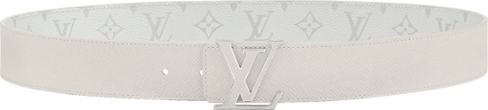 Louis Vuitton White Leather And Lv Initials Logo Buckle Belt