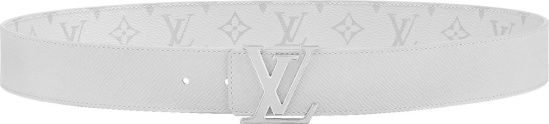 Louis Vuitton White Leather Reverisible Lv Initials Logo Buckle Belt