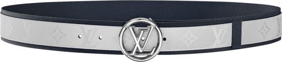 Louis Vuitton White Monogram And Navy Trim Lv Circle Belt M0129q