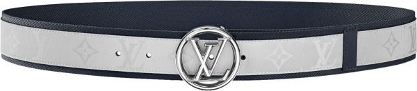 Louis Vuitton White Monogram And Navy Trim Lv Circle Belt M0129q
