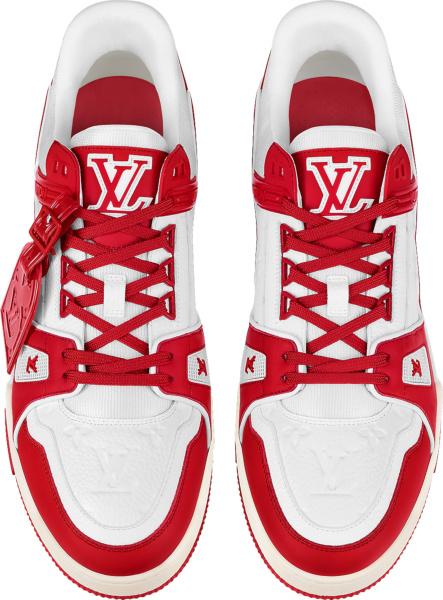 Louis Vuitton White Monogram And Red Lv Trainer Sneakers