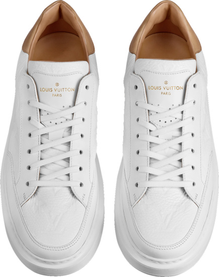 Louis Vuitton White Monogram Leather And Gold Leather Heel Beverly Hills Sneakers