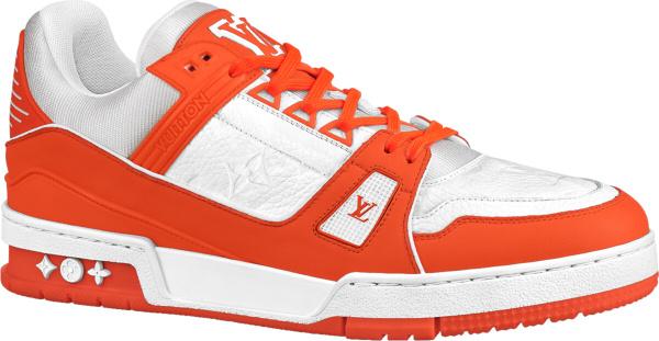Louis Vuitton White Orange Lv Trainer Sneakers