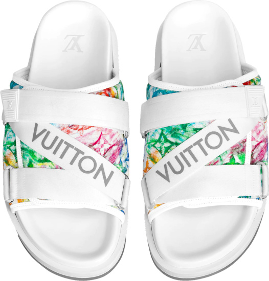 Louis Vuitton White Pastel Monogram Honolulu Mules